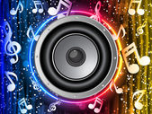 Disco Speaker with Music Notes in Neon Rainbow Circle — Stock Vector