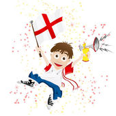 England Sport Fan with Flag and Horn — Stock Vector