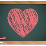 Blackboard with Heart written with Chalk — Stock Vector