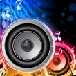 Disco Speaker with Music Notes in Neon Rainbow Circle - Stock Vector