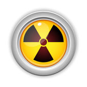 Radioactive Danger Yellow Button. Caution Radiation — Stock Vector