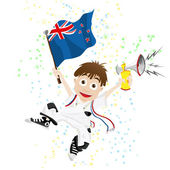 New Zealand Sport Fan with Flag and Horn — Stock Vector