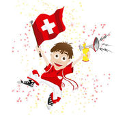 Switzerland Sport Fan with Flag and Horn — Stock Vector
