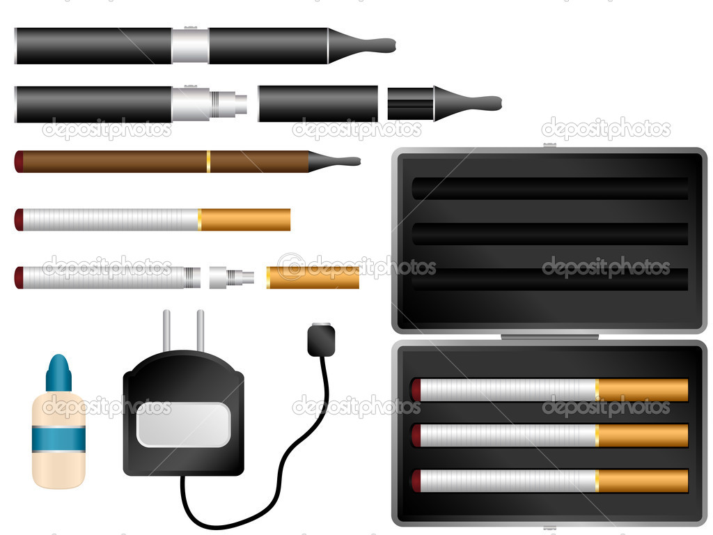 Electronic Cigarette Kit with Liquid, Charger and Case | Stock Vector ...
