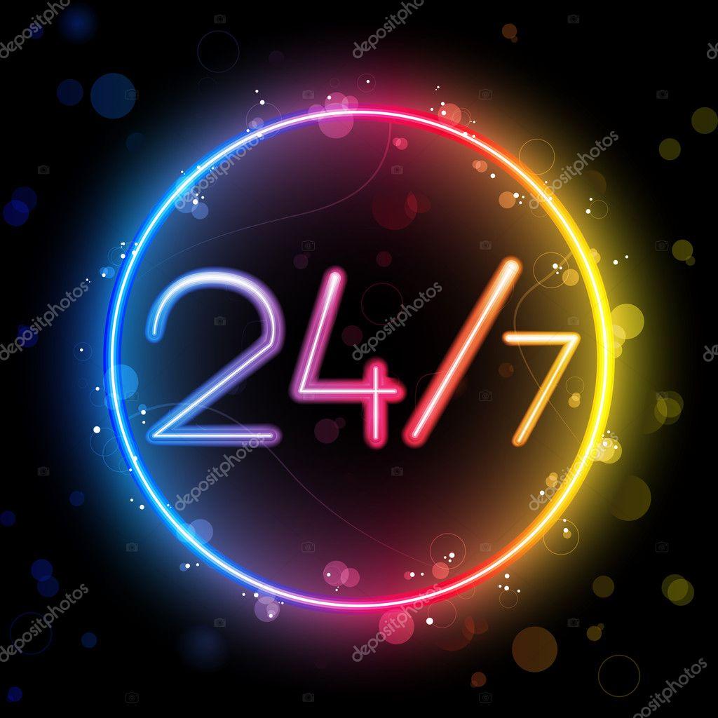 矢量-霓虹光管 24 小时彩虹圈