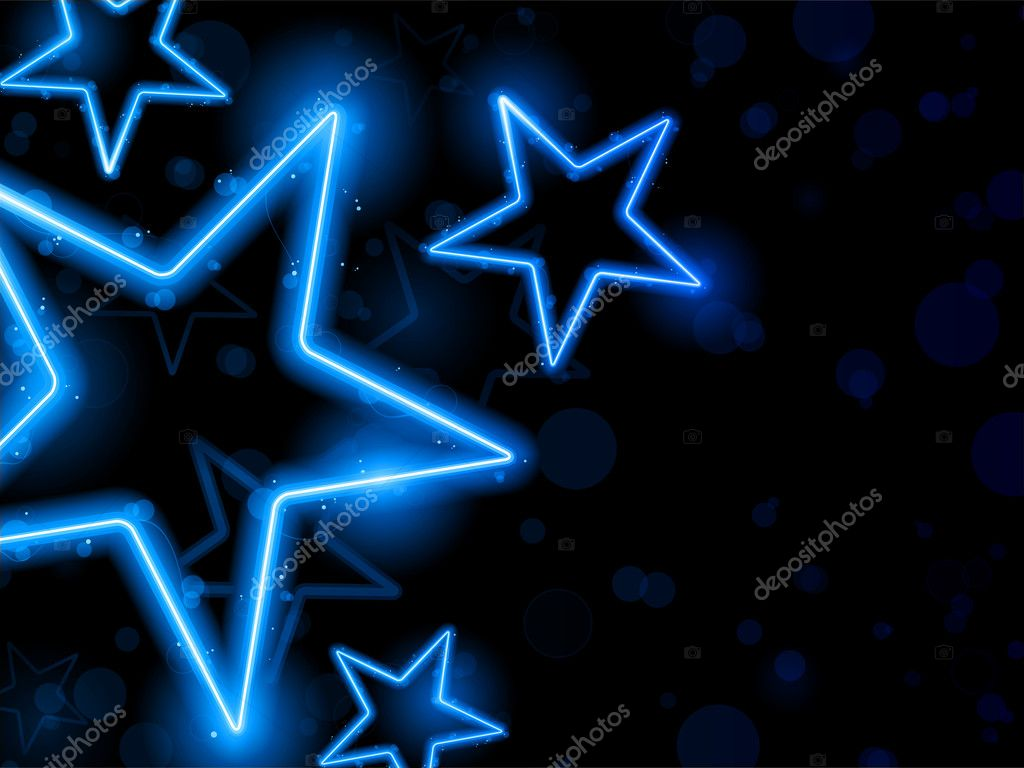 Vector - Glowing Neon Blue Stars Background — Stock Vector #5742444