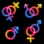 Male, Female and Transgender Gender Symbols Laser Neon — Stock Vector