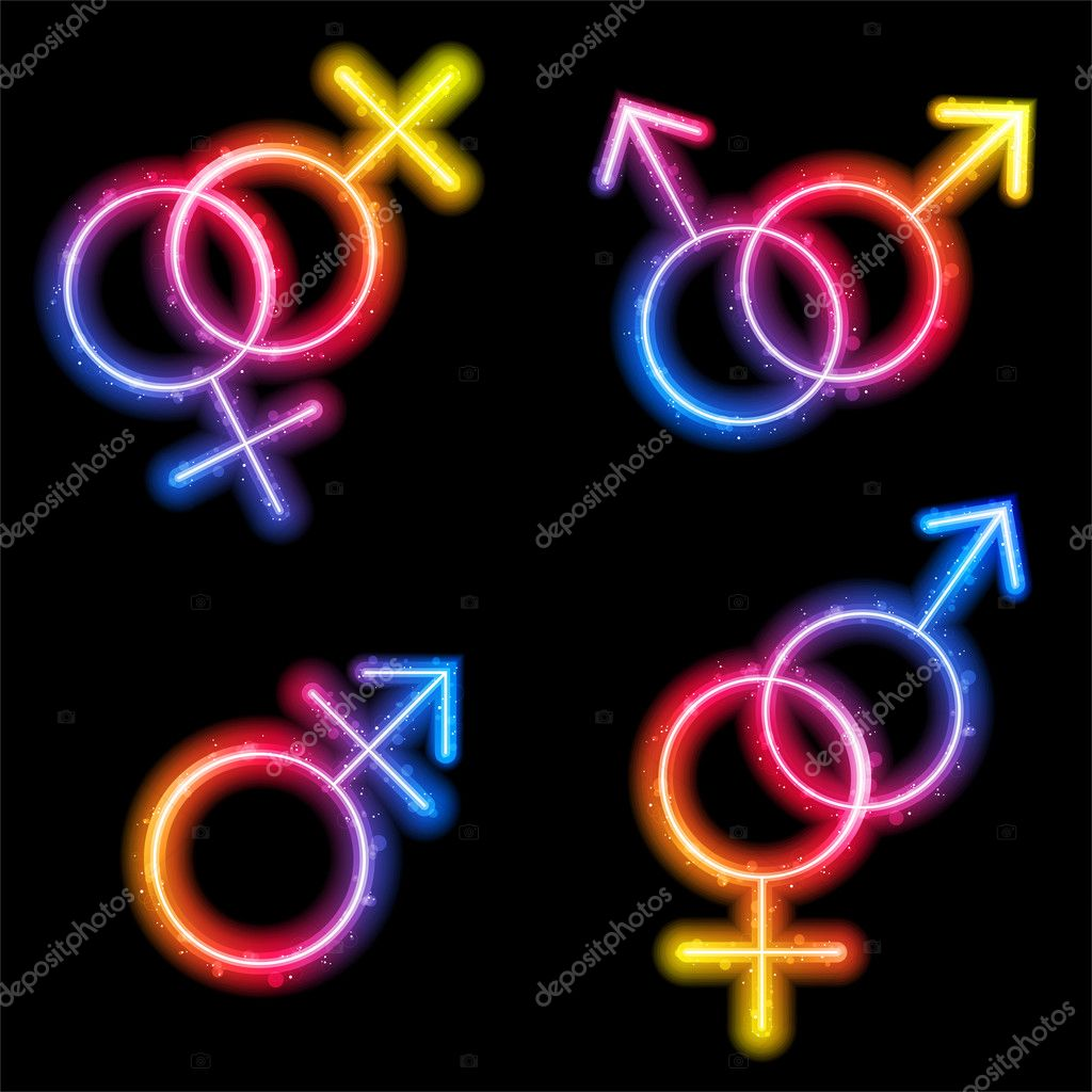 Vector - Male, Female and Transgender Gender Symbols Laser Neon — Stock Vector #5847004
