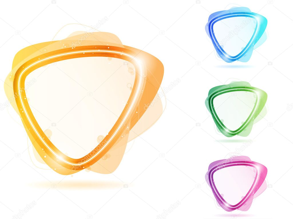 colorful neon bubble frame triangle stock illustration