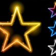 Glowing Neon Stars Set of Four — Stock Vector
