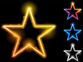 Glowing Neon Stars Set of Four — 图库矢量图片