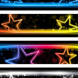 Glowing Neon Stars Banner Background Set of Four - Stok Vektör