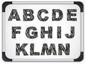Schwarz alphabet auf whiteboard — Stockvektor