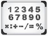 Zwarte nummers op het whiteboard — Stockvector