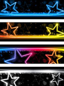 Glowing Neon Stars Banner Background Set of Four — Stock Vector