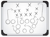 Vector - Teamwork Football Game Plan Strategy on Whiteboard — Stock Vector