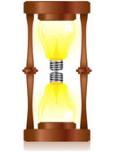 Kreativität sanduhr mit glühbirne — Stockvektor