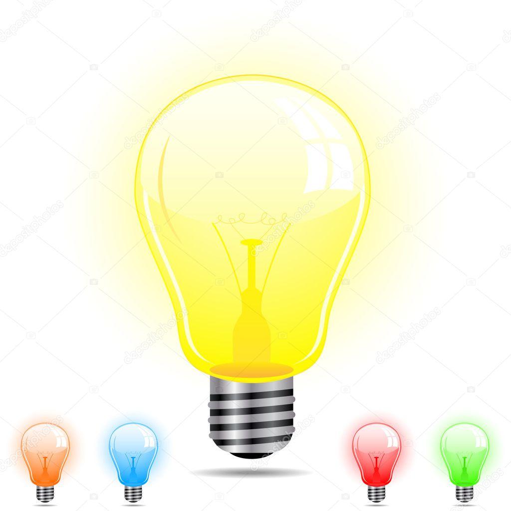 light bulb in 5 different colors stock vector gubh83 6487690. Black Bedroom Furniture Sets. Home Design Ideas