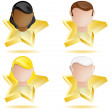 Successful Head on Golden Star - Stock Vector
