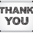 Whiteboard with Thank You Message written with Chalk - 