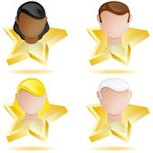 Successful Head on Golden Star — Stock Vector