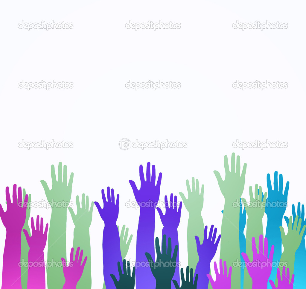 Lots of hands up, at a party. Isolated — Stock Photo #5532902