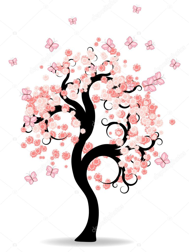 Fairy pink tree with butterflies  Stock Vector #5521907