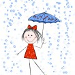 Girl with umbrella — Stock Vector