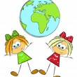 Royalty-Free Stock Vector Image: Two girls and Earth