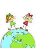 Dwie dziewczyny na ziemi — Wektor stockowy