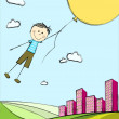 Flying boy — Stock Vector #6331215
