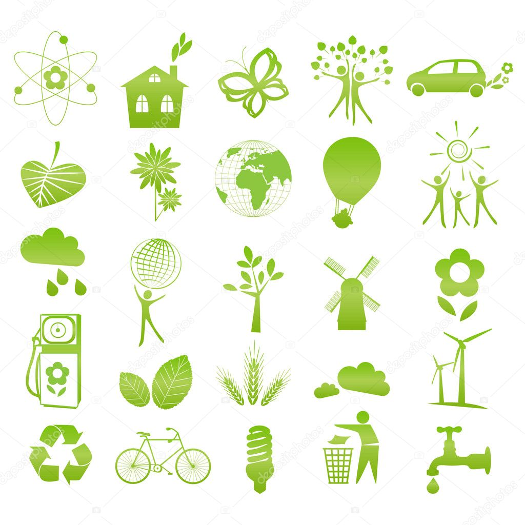 Set of 25 ecological icons — Stock Vector #6331165