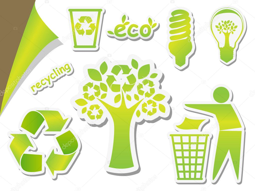 Set of green icons - concept of ecology  Stock Vector #6331574