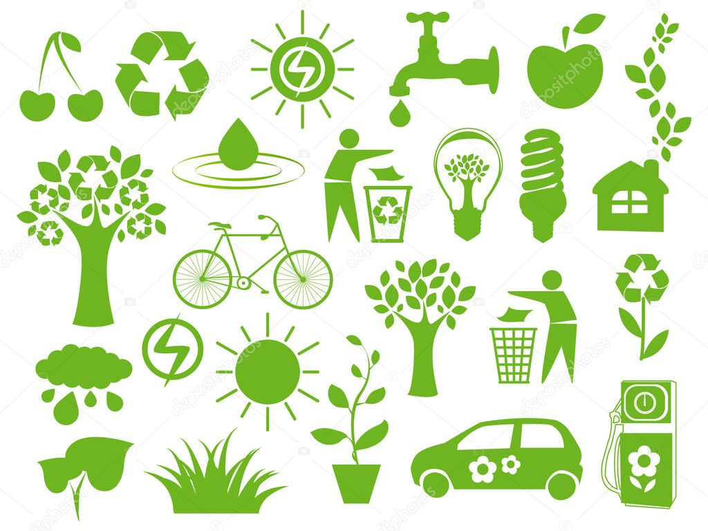 Set of green icons - concept of ecology — Stock Vector #6331635