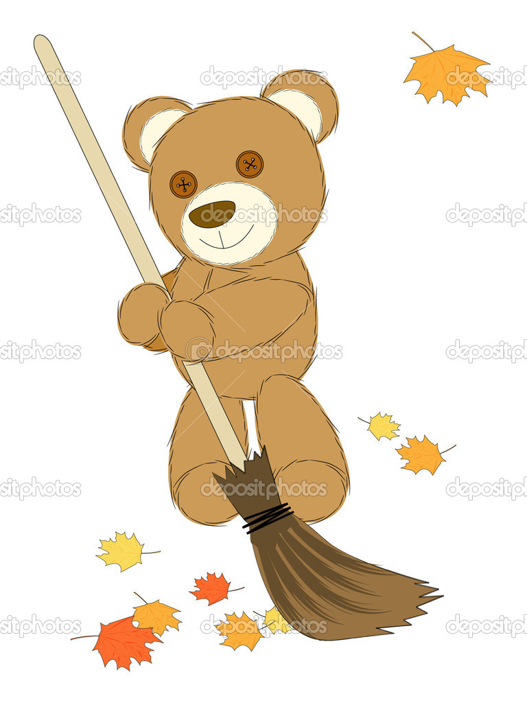 Autumn mood - cute toy bear with broom — Stock Vector #6734448