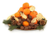 Christmas Fruit and Nuts — Stock Photo