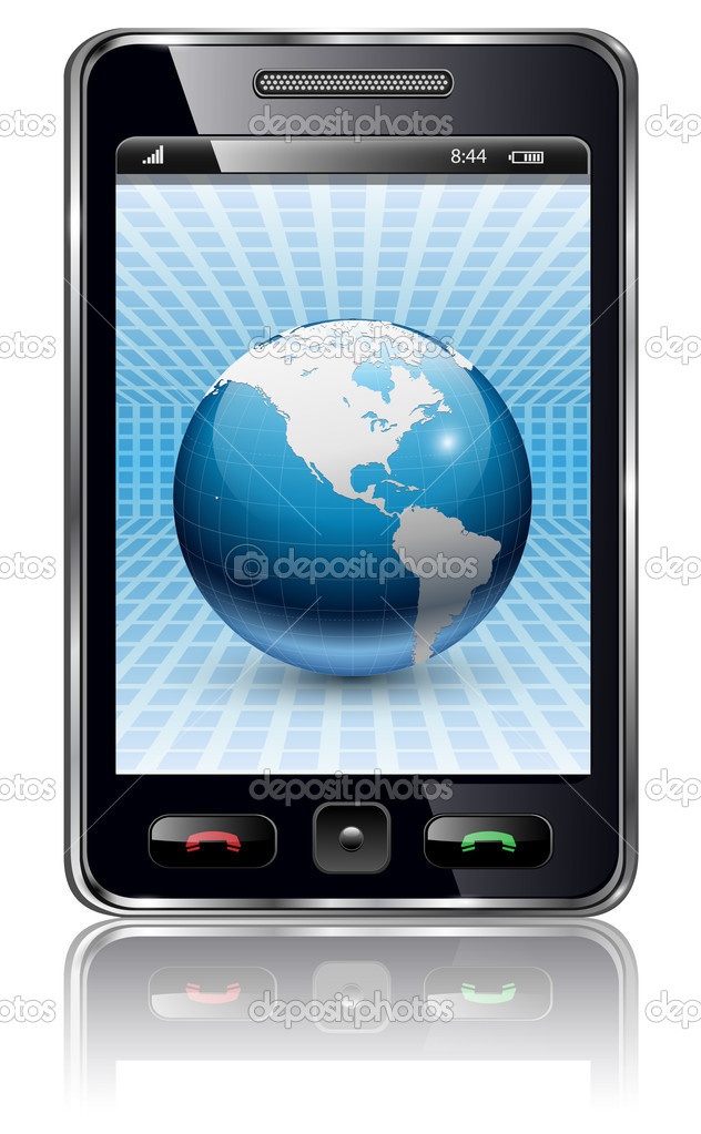 Mobile phone, smartphone with earth planet on screen, vector. — Stock Vector #5425922