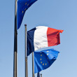 Stock Photo: EU and French flags