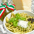 Pasta with pesto - Stock Photo