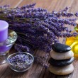 Stock Photo: Lavender and stones