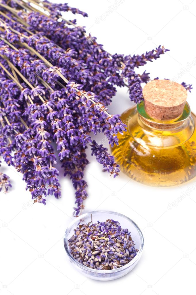 Lavender flowers with oil  isolated on white background — Stock Photo #5899790