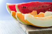 Watermelon and melon — Stock Photo