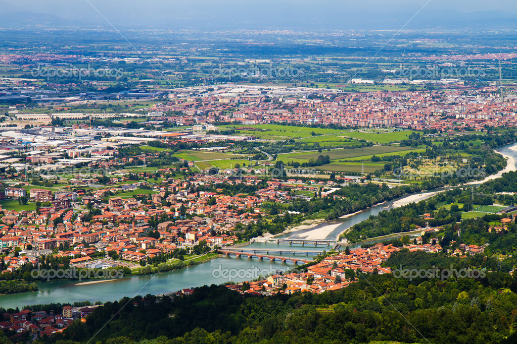 City of Turin skyline panorama seen from the hill  — Stock Photo #6186899