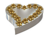 Silver heart gift box and golden flowers on the top — 图库照片