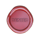 Wax seal with denied text — Stock Photo