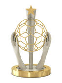 Golden soccer trophy with hands and wireframe ball — Stock Photo