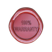 Wax seal with 100 percent warranty text — Stock Photo