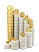 Spiral stairs and golden dollar coins — Stock Photo
