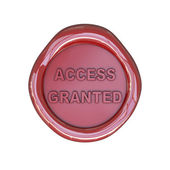 Wax seal with access granted text — Stock Photo