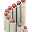 Spiral stairs and red balls with percents — Stock Photo #5703447